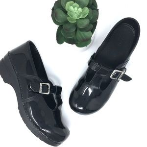 SANITA Mary Jane patent leather clogs